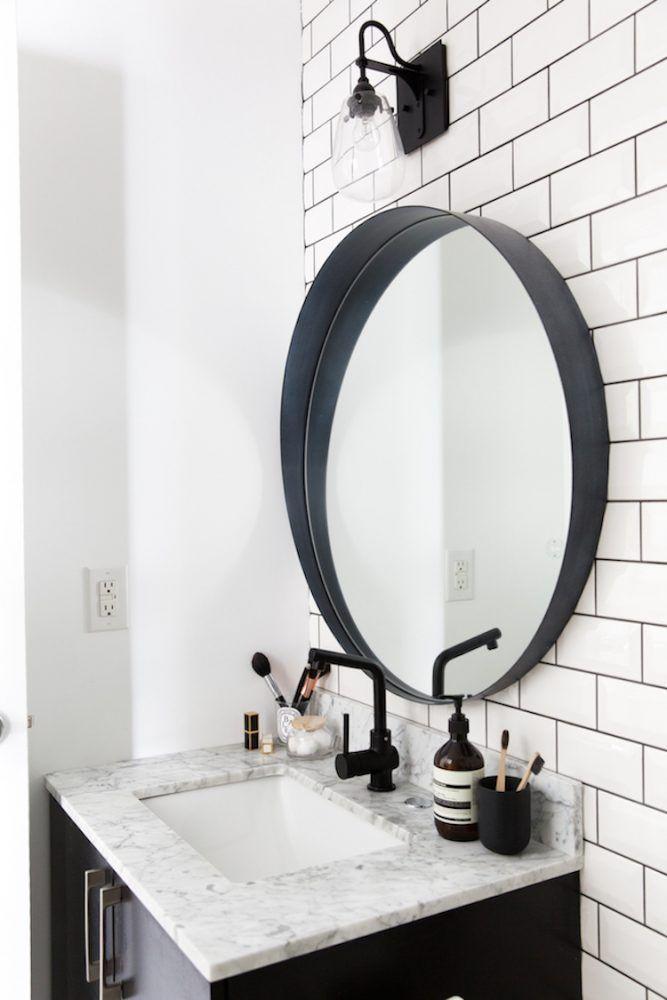 5 Easy Ways To Style A Modern Farmhouse Bathroom Black Bathroom Mirrors Round Mirror Bathroom Bathroom Mirror Design