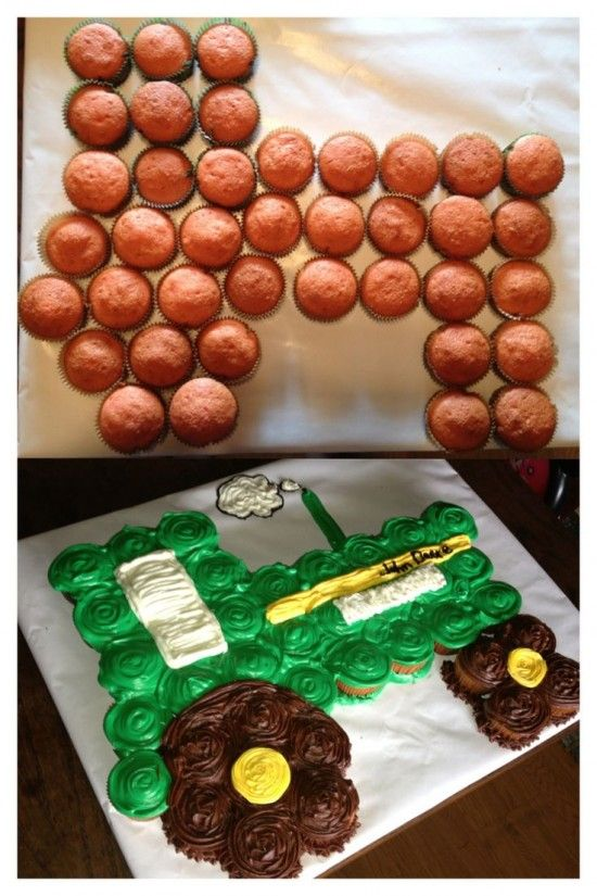 John Deere Cupcake Cake Tractor