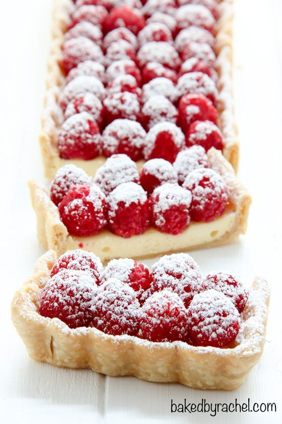 Cheesecake tart with fresh raspberries | recipe from bakedbyrachel.