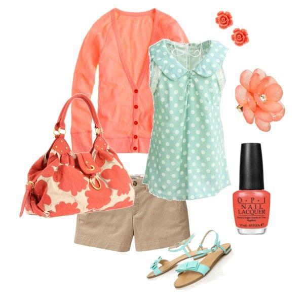 think'n spring: Colors Combos, Color Combos, Mint Coral, Polka Dots Blouses, Colors Schemes, Cute Summer Outfits, Outfits 3, Colors Together, Spring Outfits