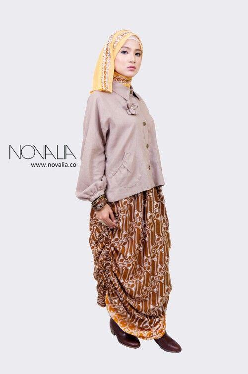 Double ruffle tencel skirt & linen blouse