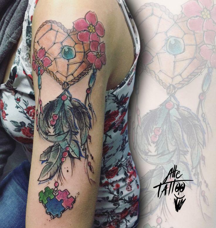 #alletattoo #tattoo #dreamcatcher #heart #feather #puzzle #acchiappasogni #cuore #piuma #tatuaggio