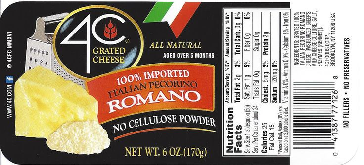 4C Foods Corp. Voluntarily Recalls 4C Grated Cheese, Homestyle Grated Cheese, and Cento Grated Cheese Brands NET WT. 6 OZ Glass Jars Because of Possible Health Risk