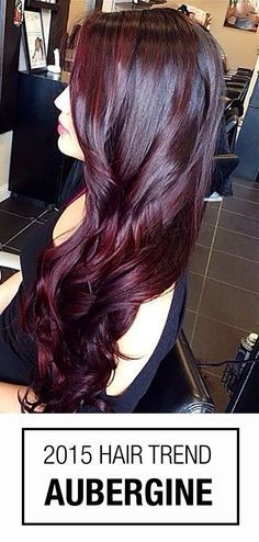Burgundy hair color! Aubergine is a striking combination between violet and red hues - a gorgeous hair color idea for brunettes!