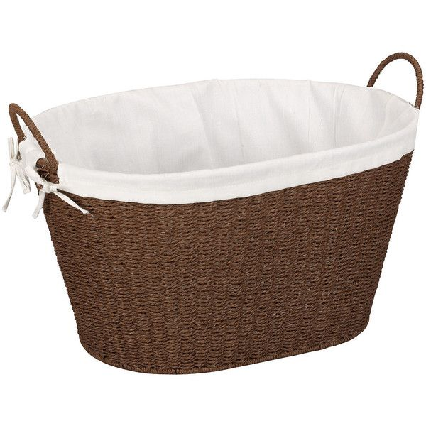 Household Essentials Paper Rope Wicker Laundry Basket ($45) ❤ liked on Polyvore featuring home, home improvement and storage & organization