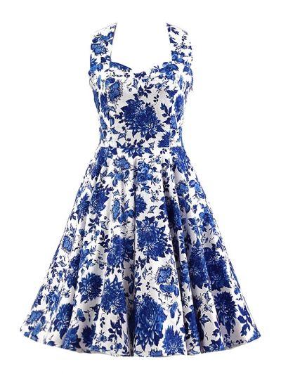 Halter Blue and White Porcelain Print Dress #womensfashion #pinterestfashion #buy #fun#fashion