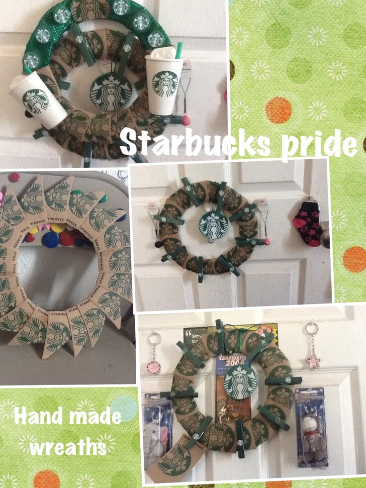Starbucks Sleeve Wreaths My Creation By Cecy Pinterest