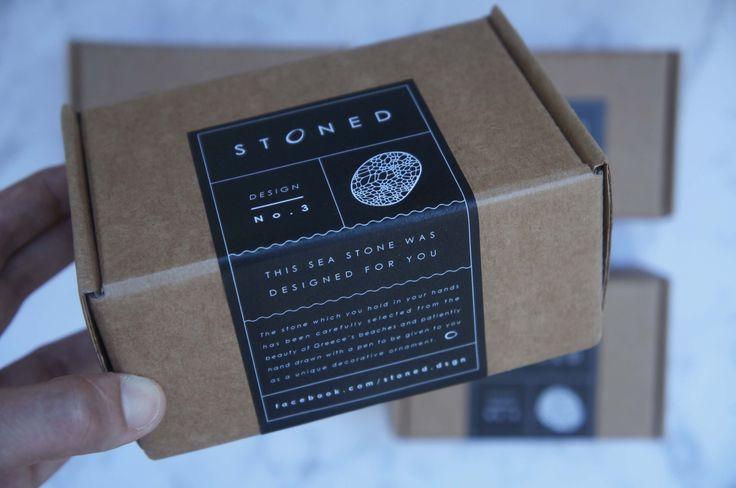 Cardboard box with sticker