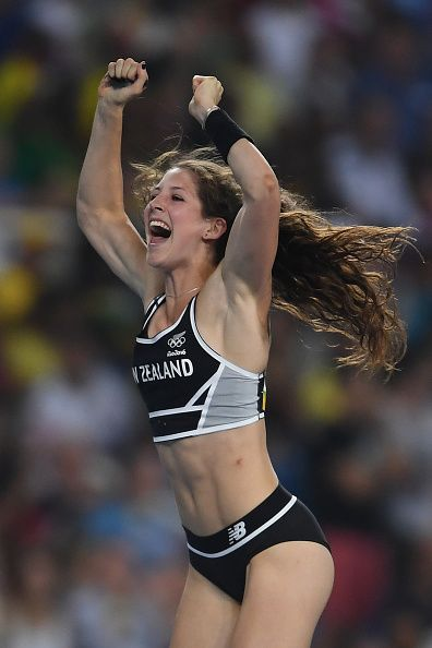 Eliza Mccartney of New Zealand celebrates in the Women's Pole Vault Final on…