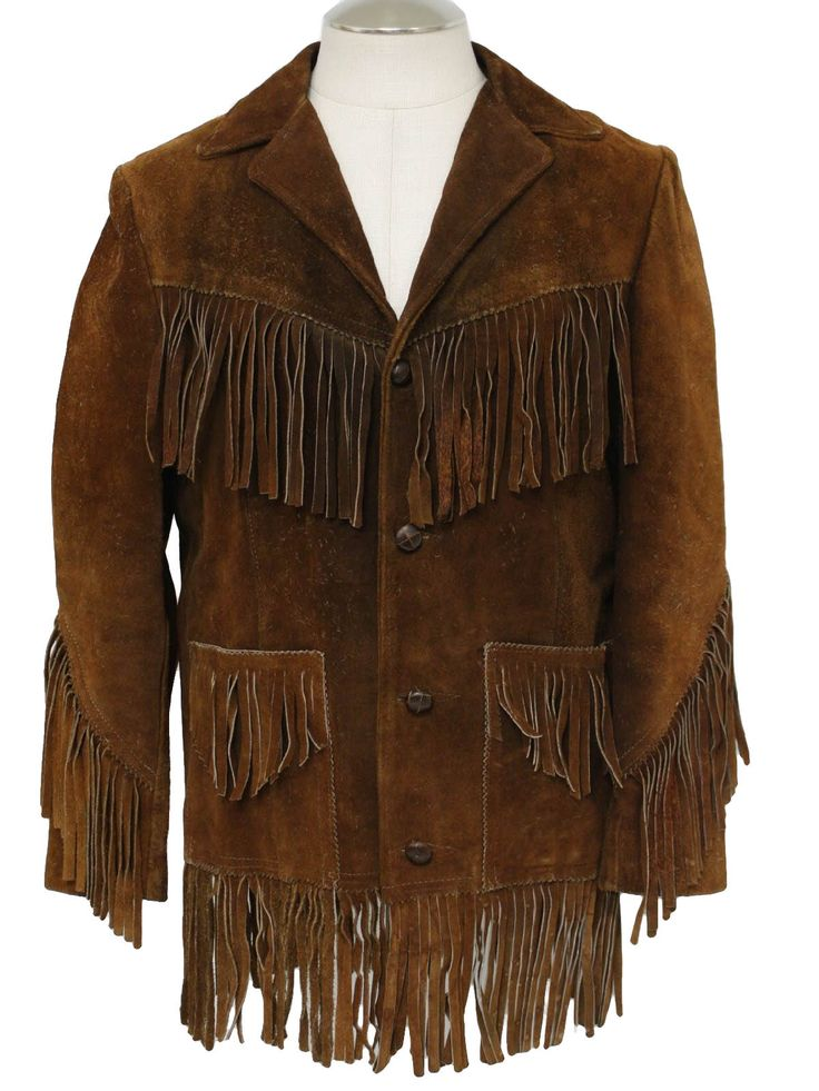 Mens leather fringe jacket
