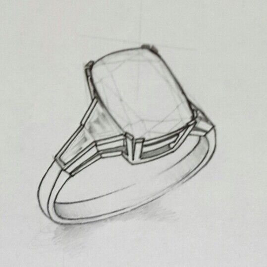 2.50ct Rectangular Cushion Cut Diamond or Tanzanite Ring