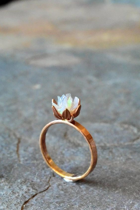 Unique Opal Ring, Custom Uncut Opal Engagement Ring, Lotus Flower Ring in Rose Gold, Raw Rough Fire Opal Jewelry for Women, Birthstone Rings