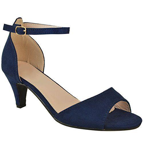 306d9fece8e28 Escarpins à Petit Talon - à Bride - pour Femme - Faux Suède Bleu Marine Bleu  foncé - EUR 36