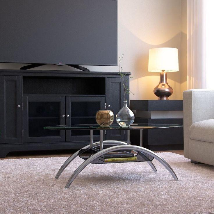 Large Oval Glass Coffee Table Cocktail Magazine Holder Shelf Modern  Furniture