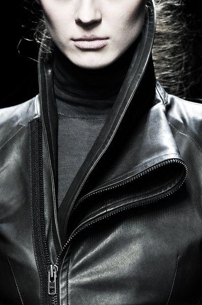 Asymmetric Collar - leather jacket; chic edgy fashion details // Haider Ackermann