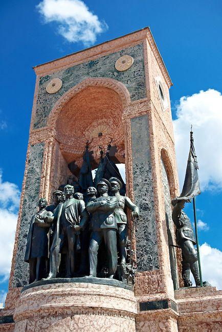 Monument of the Republic with Ataturk , Taxim Square Istanbul Turkey