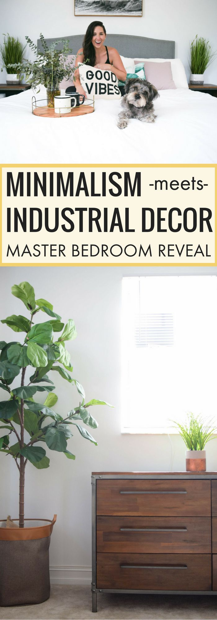 Neutral master bedroom tips, industrial minimalist decor ideas, how to decorate on a budget tips, #masterbedroom