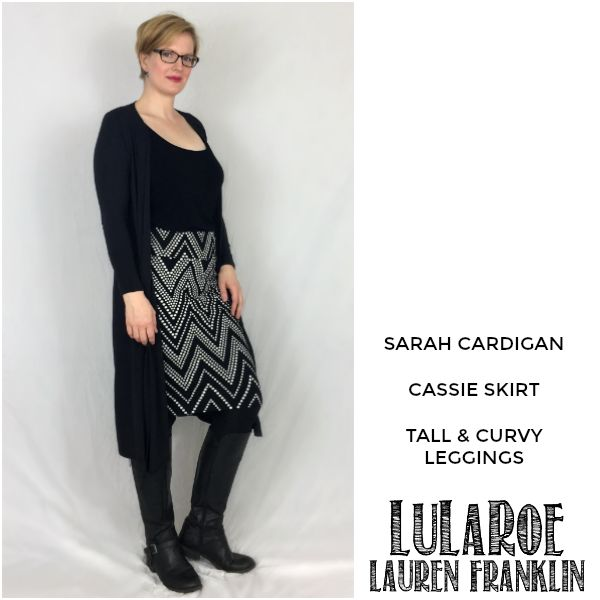 LuLaRoe Lauren Franklin featuring Kim Bongiorno in the LuLaRoe Sarah cardigan, Cassie skirt, and Tall and Curvy leggings - plus 14 other outfits! | WAHM style