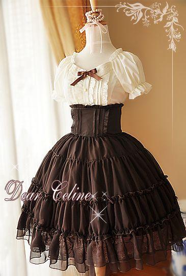 Brown chiffon skirt from Dear Celine #lolita #skirt $35.5