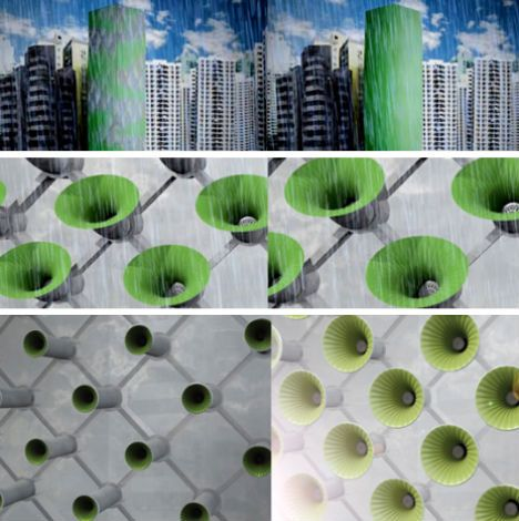 Just like the surface of a leaf, the 'skin' of the Habitat 2020 building reacts to external stimuli, opening, closing and breathing throughout the day through a system of 'cellular' openings that allow light, air and water into the apartments . It improves indoor air quality and provides natural air conditioning – the skin can even absorb moisture from the air and collect rainwater before purifying and filtering it so it can be used by the building's