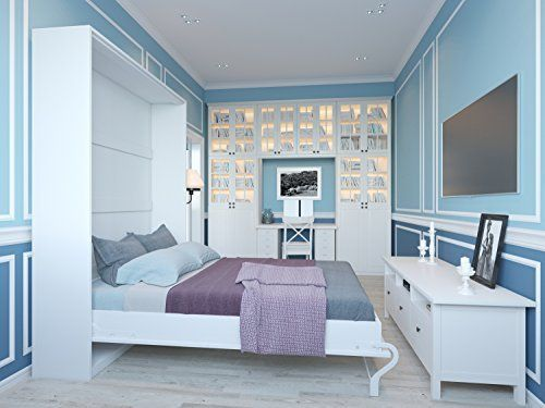 Schrankbett 140 x200cm Vertikal Weiß, ideal als Gästebett - Wandbett, Schrank mit integriertem Klappbett, SMARTBett
