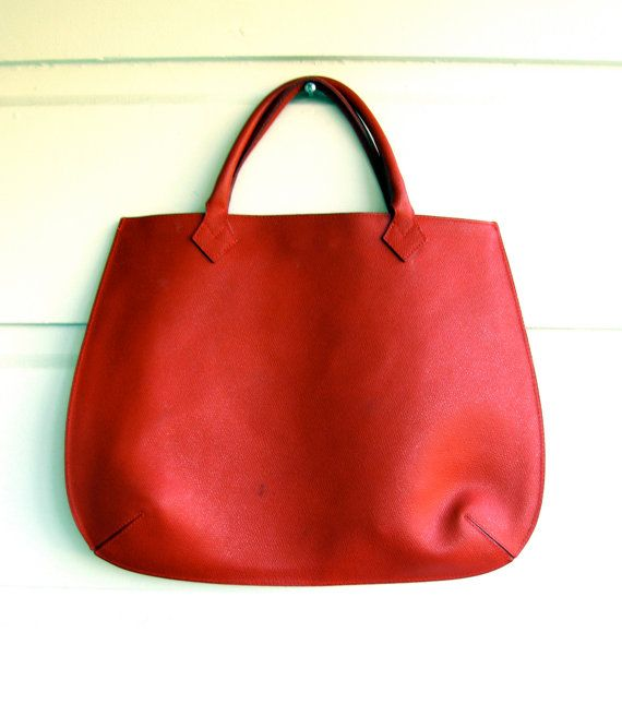Cherry Red Leather Handbag by Tanner Italy by z2aBc on Etsy, $49.99
