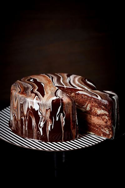 Double chocolate marble chiffon cake with rich choc mousse & cocao nibs finished off with luscious double choc ganache glaze