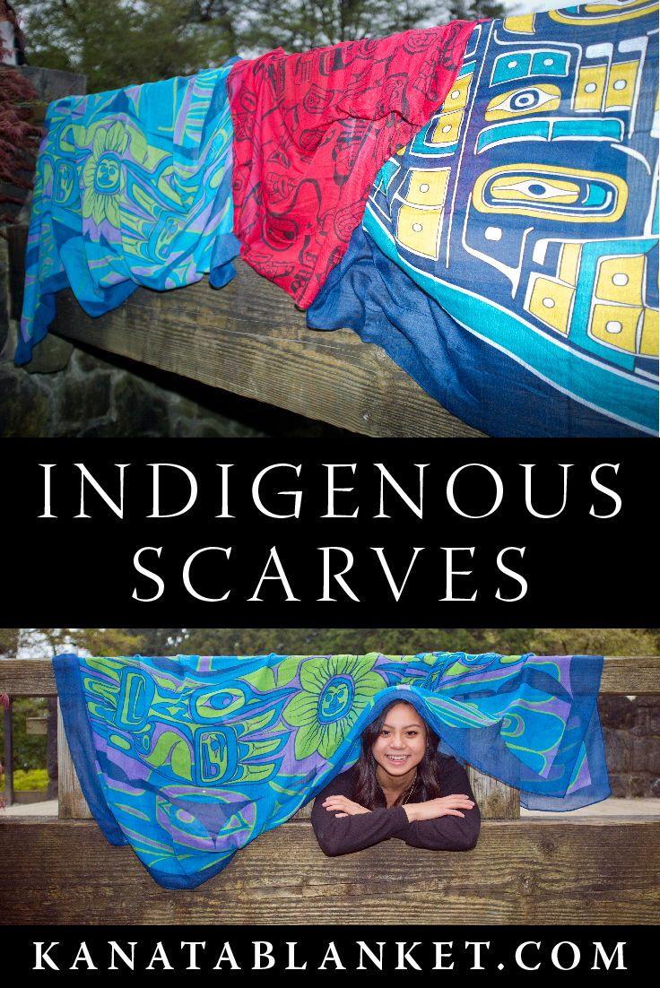 Get more Indigenous scarves at kanatablanket.com. For more, follow us @kanatablanket