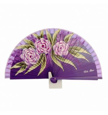 Abanico morado con 3 flores de diseño