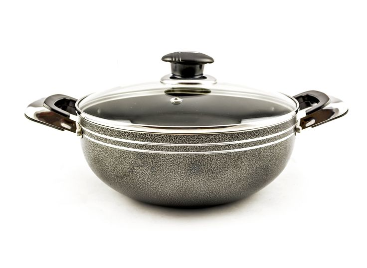 Buy Grey Non-Stick Wok With Glass Lid – 30 cm - Non Stick Frying Pans & Woks and more Homeware, Kitchenware and Cookware products at Popat Stores. #FryPan #NonstickFryPan #Cooking #Cookware #Homeware #Kitchenware