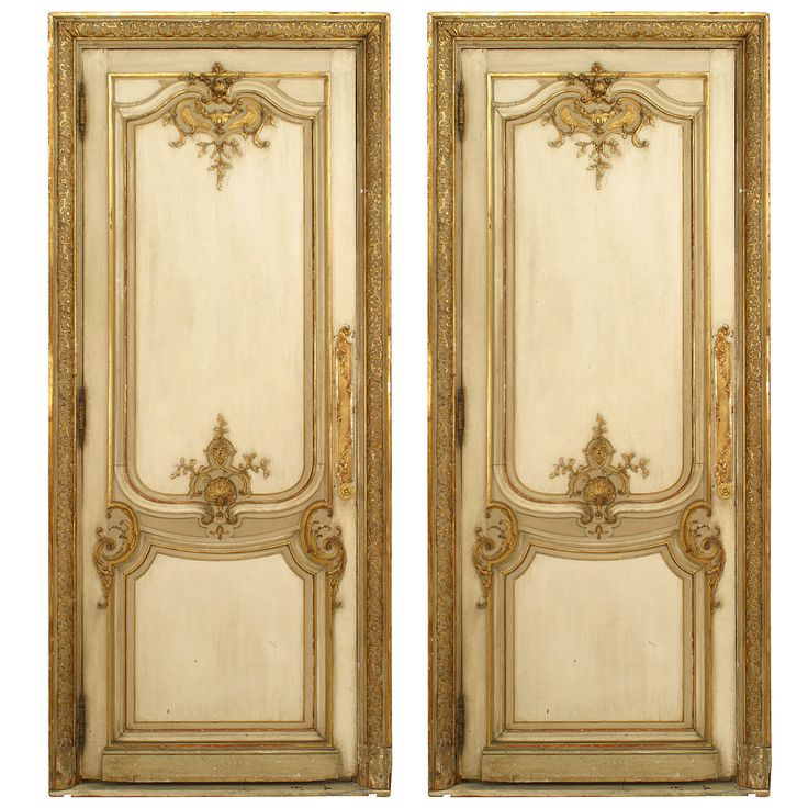 Two 19th Century French Louis XV Style White and Gold Painted Doors OFFERED BY NEWEL LLC $22,500
