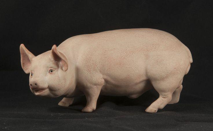 AYNSLEY PORCELAIN PIG By John Aynsley ENGLAND Vintage GLOSS EYES C1930 S ?