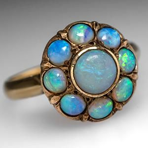 Antique Opal Ring w/ Scroll Work & Halo 18K Gold