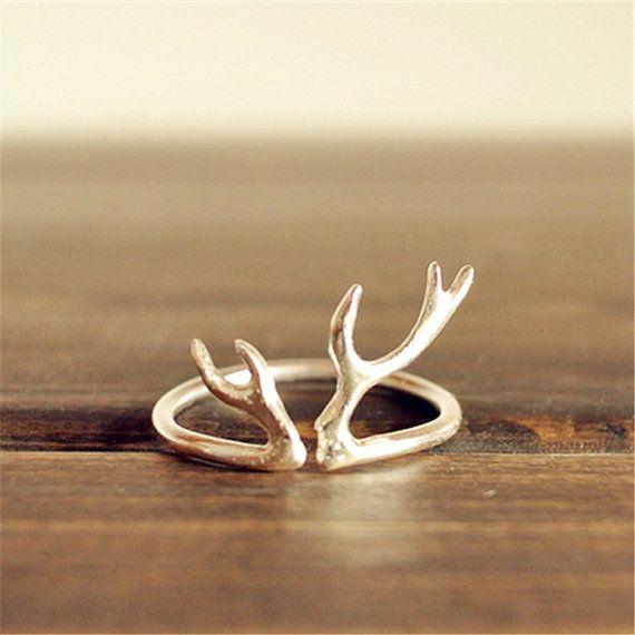 Modern and elegant antler ring-antler ring in sterling silver-deer ring-stag ring-horn ring-reindeer ring-silver antler ring