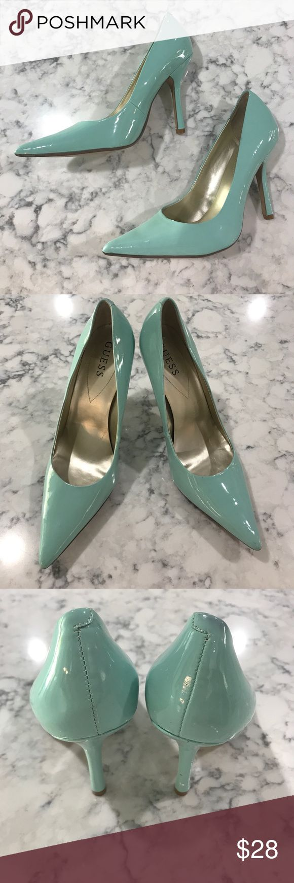 Guess Pointed Toe Mint Pumps Size 8.5 patent leather mint pointed toe heels. Without box. Worn once. Guess Shoes Heels
