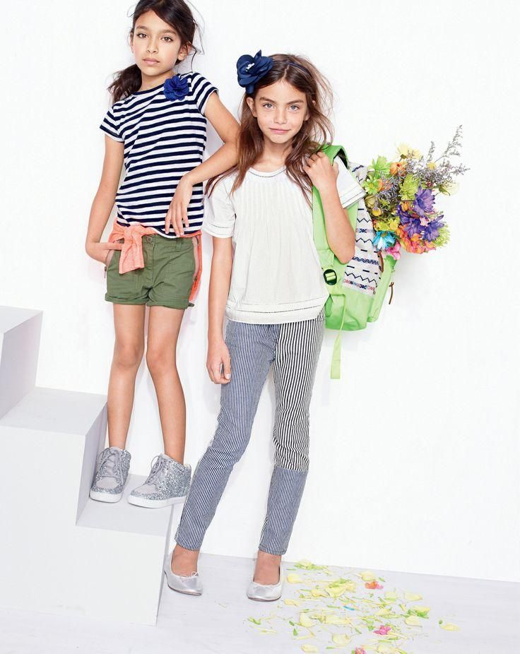 J.Crew blue stripe tee worn with the lightweight zip short and glitter suede high top sneakers.