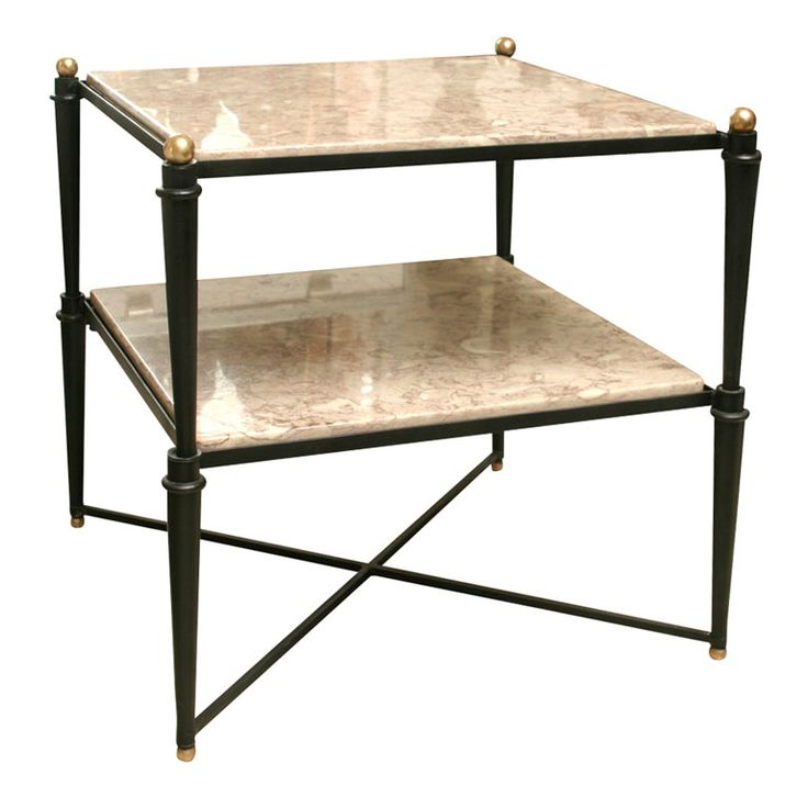 50's Italian Iron and Marble Tall Coffee Table/End Table | From a unique collection of antique and modern coffee and cocktail tables at https://www.1stdibs.com/furniture/tables/coffee-tables-cocktail-tables/