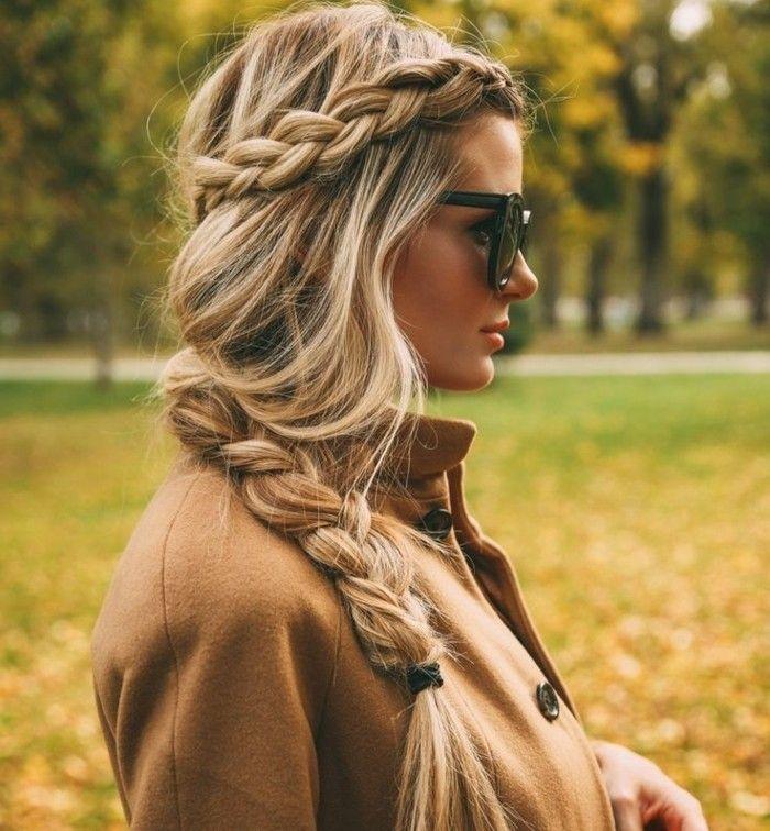 coiffure romantique humeur dautomne tresse veste lunettes de soleil
