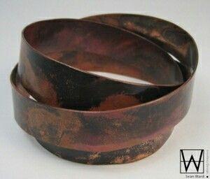 Heat treated copper endless bracelet handmade by Sean Ward Jewellery Design. https://www.etsy.com/ca/shop/seanWardjewellery