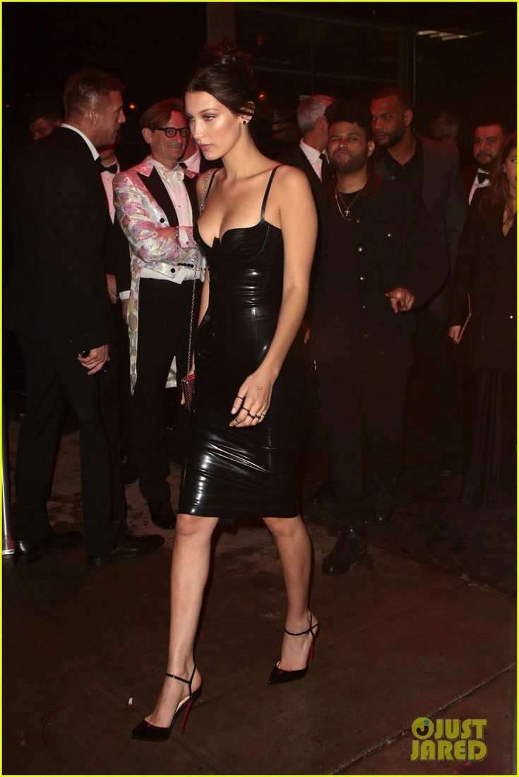 Bella Hadid Sports Sexy Latex Dress for Met Gala 2016 Party