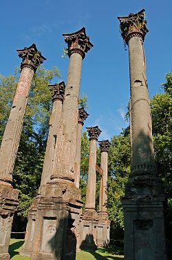 The Windsor Ruins are located in Claiborne County in the U.S. state of Mississippi, about 10 miles southwest of Port Gibson near Alcorn State University. The ruins are those of the largest antebellum Greek Revival mansion built in the state, and have been used in various motion pictures.