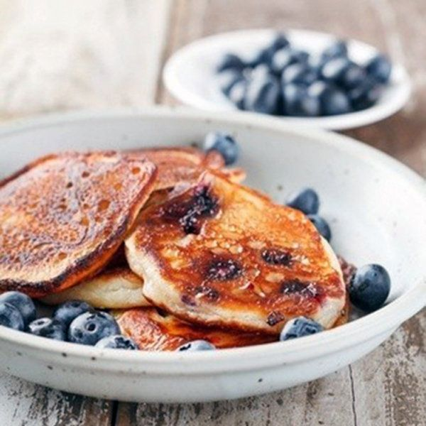 Breakfast doesn't have to be in the morning! Try these Oatmeal Protein Blueberry Pancakes any time of day. #SkinnyMs