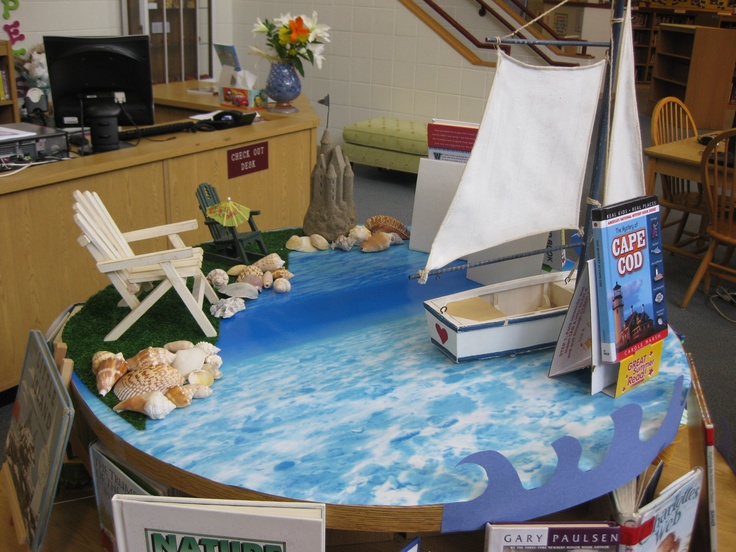 Summer time reading display. Shells, astro turf, watery wrapping paper and beach chairs.