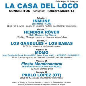 Programación de conciertos en La Casa del Loco, Febrero y Marzo