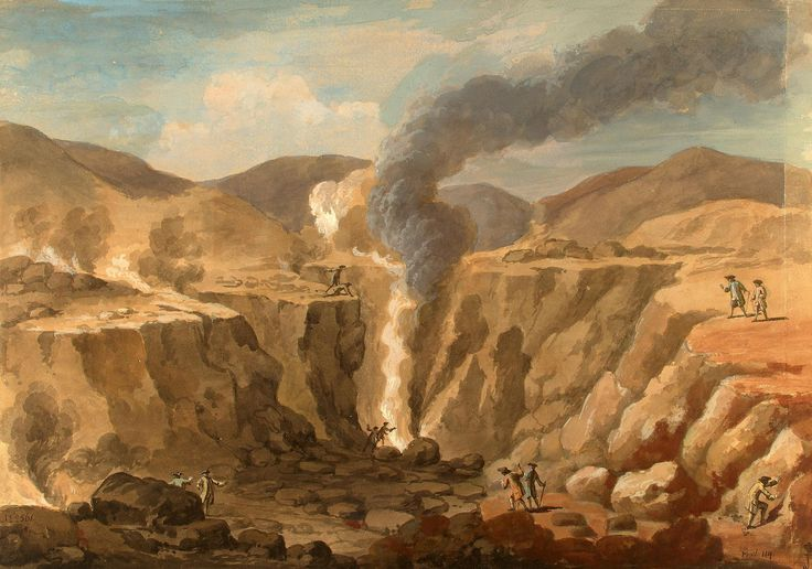Author: Clerisseau, Charles-Louis. 1721-1820  Title:  Crater of Vesuvius  Place: France  Date: After 1765  Technique:  brush and brown and grey wash and gouache  Dimensions:  42,8x60,3 cm