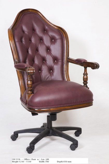 Office Chair with Gas Lift - Maroon  http://www.countryinteriors.com.au/product/office-chair/
