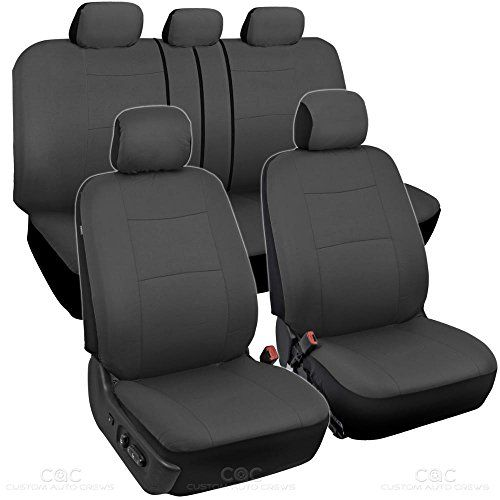 BDK Charcoal Black Car Seat Covers Full 9pc Set - Sleek & Stylish - Split Option Bench 5 Headrests Front & Rear Bench. For product info go to:  https://www.caraccessoriesonlinemarket.com/bdk-charcoal-black-car-seat-covers-full-9pc-set-sleek-stylish-split-option-bench-5-headrests-front-rear-bench/