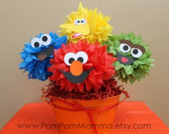 Sesame Street inspirado partidos Poms por PomPomMomma en Etsy