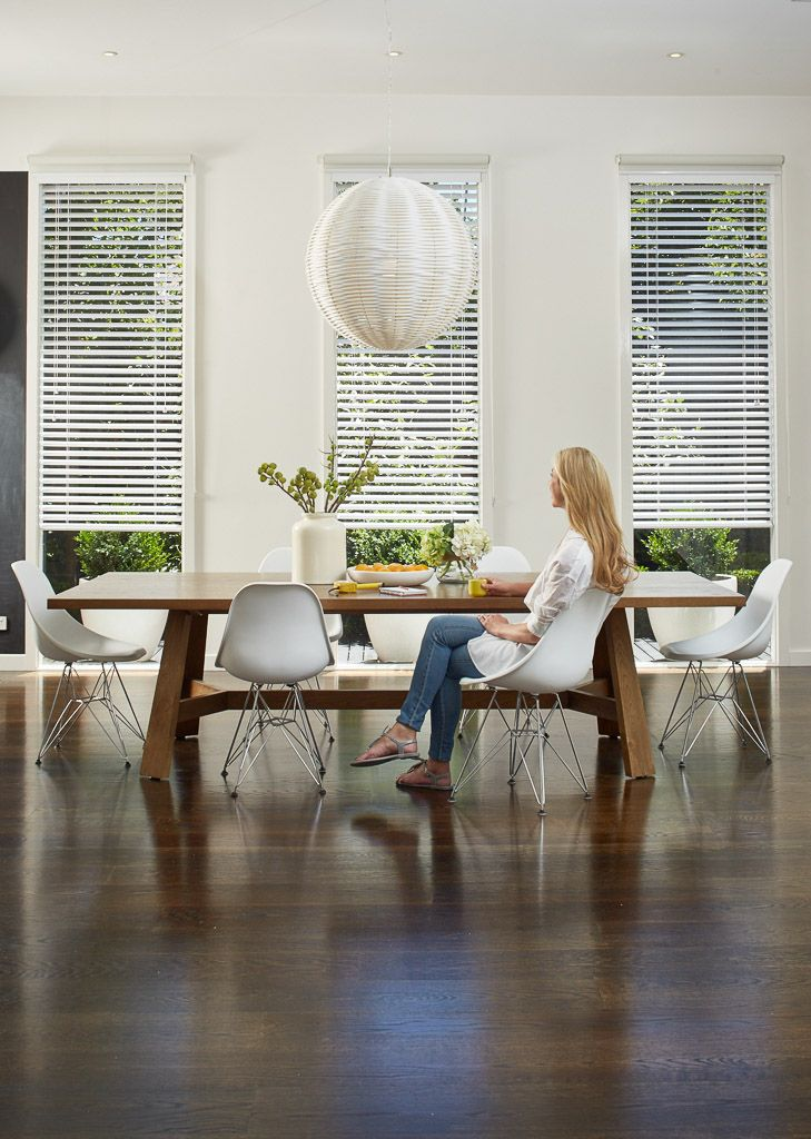 Timber Venetian Blinds - White: Completely transform the feel of your living or dining area with contemporary basswood Venetians.