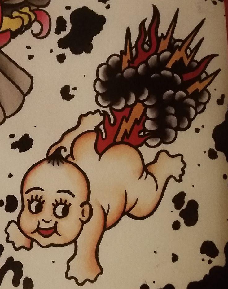 "Traditional/old school tattoo, Jeromey ""tilt"" McCulloch, Coopr, baby, fart, lightning, flames"